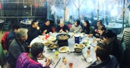 Photo by Kara Noto. CUHK and Brown University Public Humans having dinner.