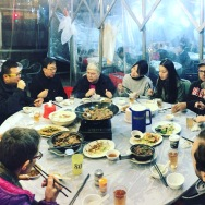 Photo by Kara Noto. CUHK and Brown University Public Humans having dinner.